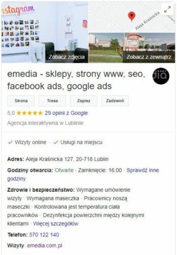 Wpisy informacyjne wGoogle Moja Firma loading=