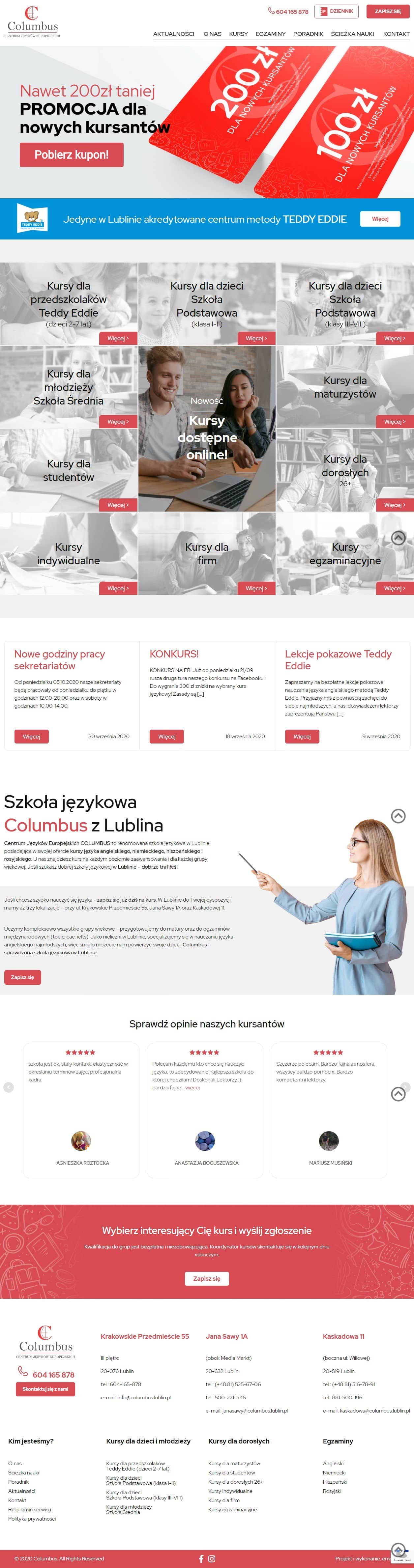 Strona internetowa columbus.lublin.pl - zrzut desktop