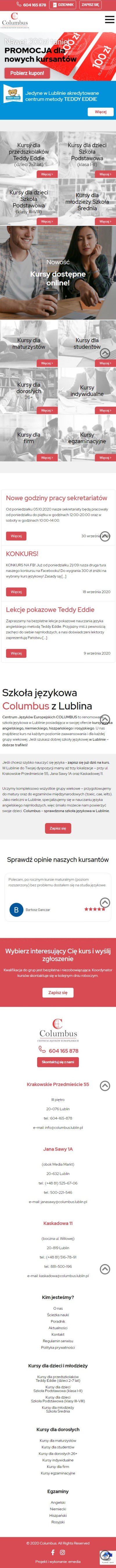 Strona internetowa columbus.lublin.pl - zrzut mobile