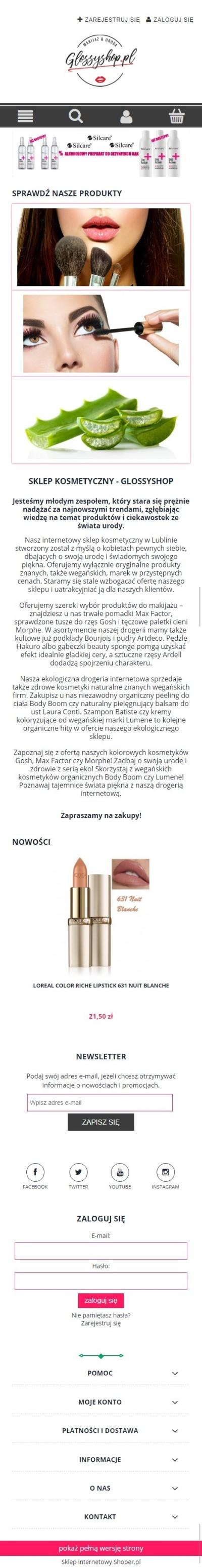 Sklep internetowy glossyshop.pl - zrzut mobile