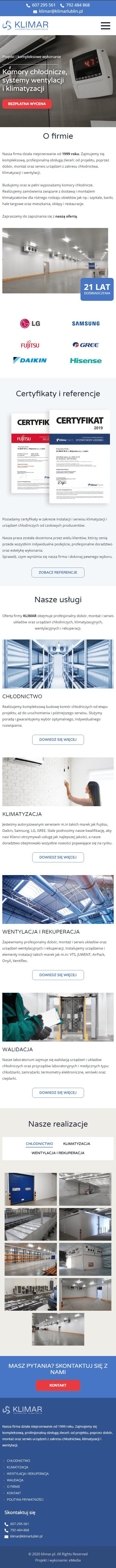 Strona internetowa klimarlublin.pl - zrzut mobile