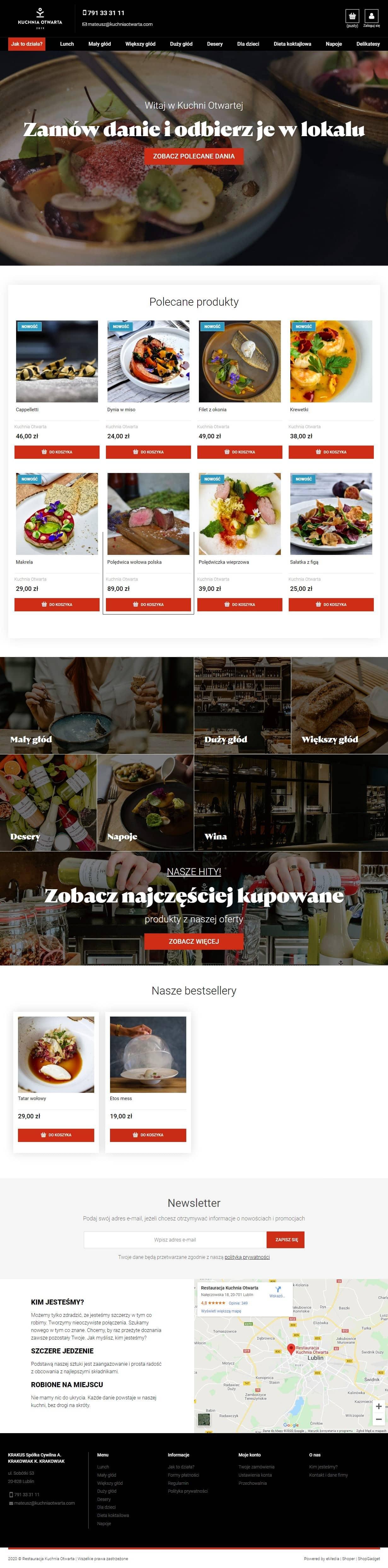 Sklep internetowy nawynos.kuchniaotwarta.com - zrzut desktop