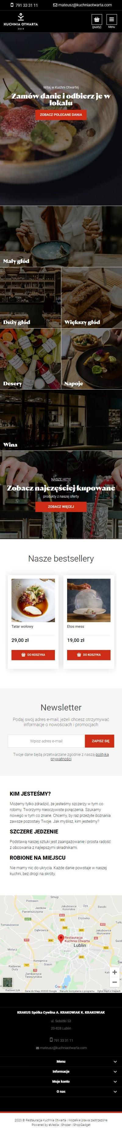 Sklep internetowy nawynos.kuchniaotwarta.com - zrzut mobile