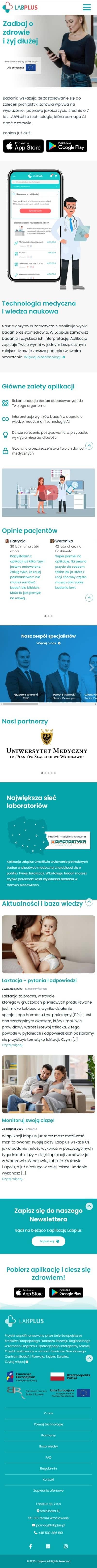 Strona internetowa labplus.pl - zrzut mobile