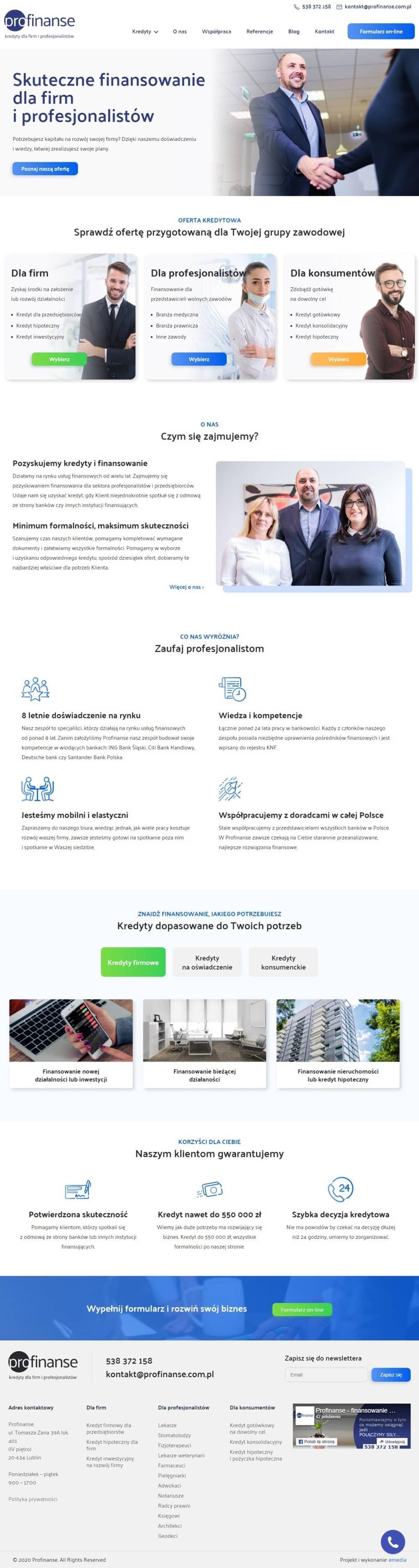 Strona internetowa profinanse.com.pl - zrzut desktop