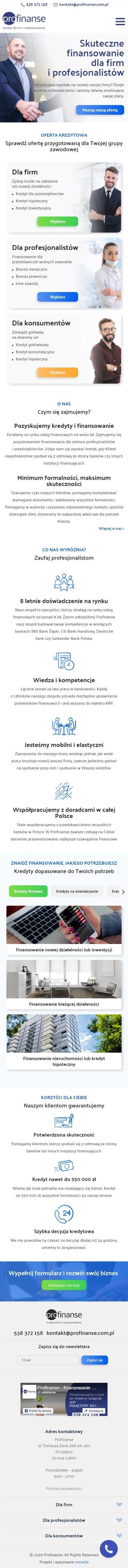 Strona internetowa profinanse.com.pl - zrzut mobile