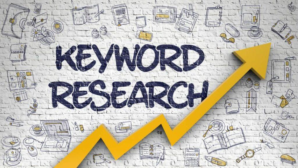 Keyword Research Drawn On White Brickwall. 3d.