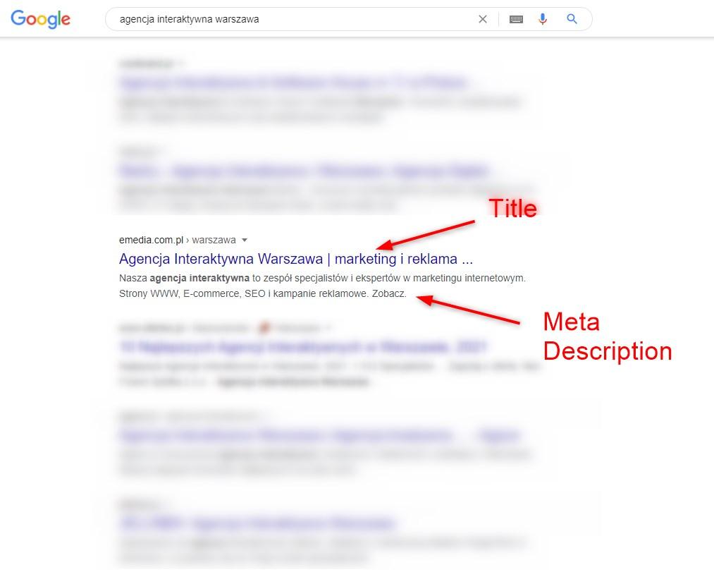 Meta Title Description i wyniki wyszukiwania słowa agencja interaktywna Warszawa Emedia