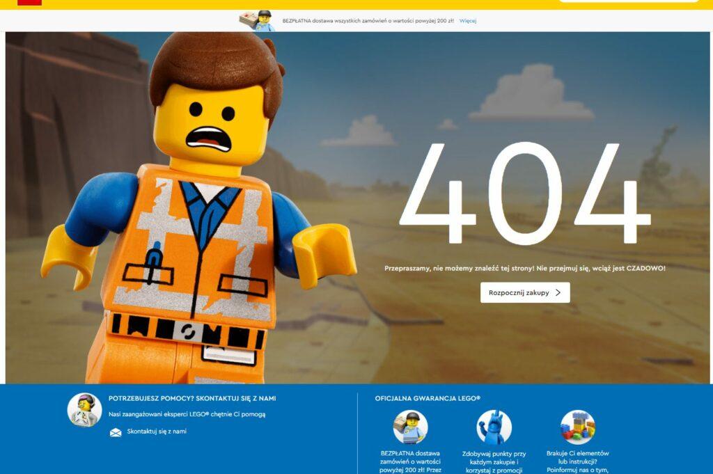 Jak pokazywać błędy systemu 404 napodstawie sklepu internetowego lego