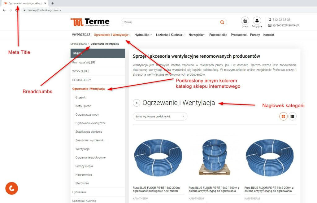 Heurystyka nielsena pokazuj status systemu na podstawie sklepu internetowego Terme - realizacja emedia agencja interaktywna Warszawa