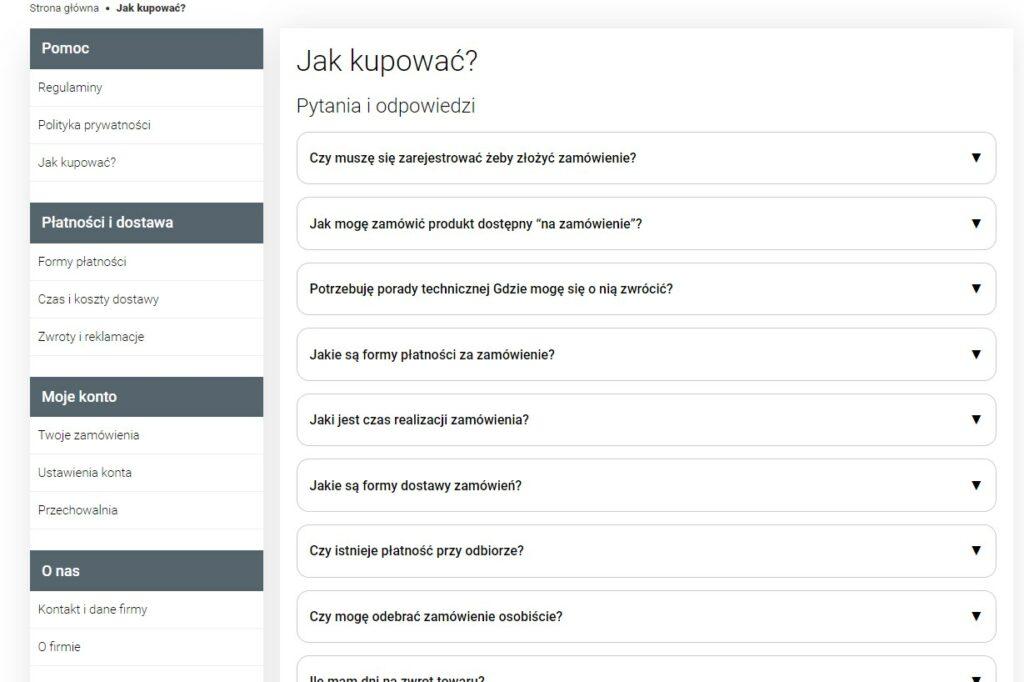 Jak powinno wyglądać FAQ sklepu internetowego naprzykładzie Terme - realizacji agencji interaktywnej Lublin emedia