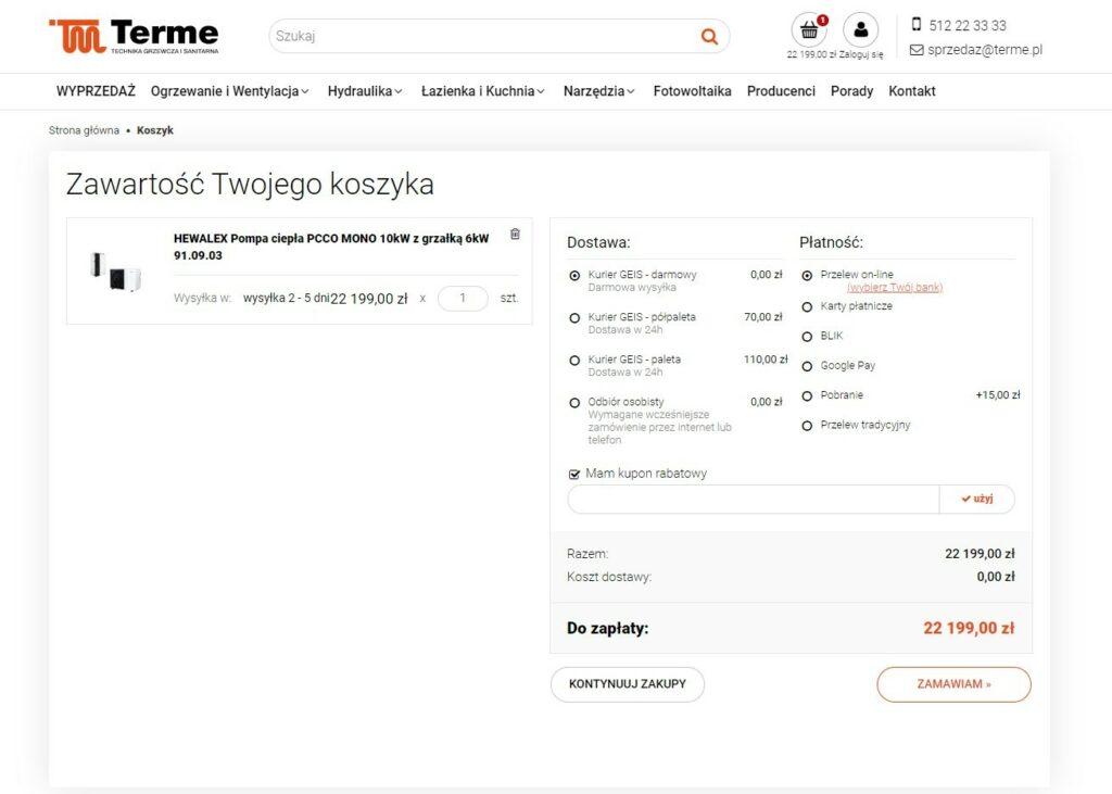 Przykład prawidłowo wdrożonego koszyka w sklepie internetowym Terme.pl - zrealizowanym przez agencję interaktywną emedia