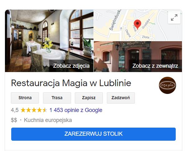 Opcja rezerwacji stolika przez wizytówkę Google.