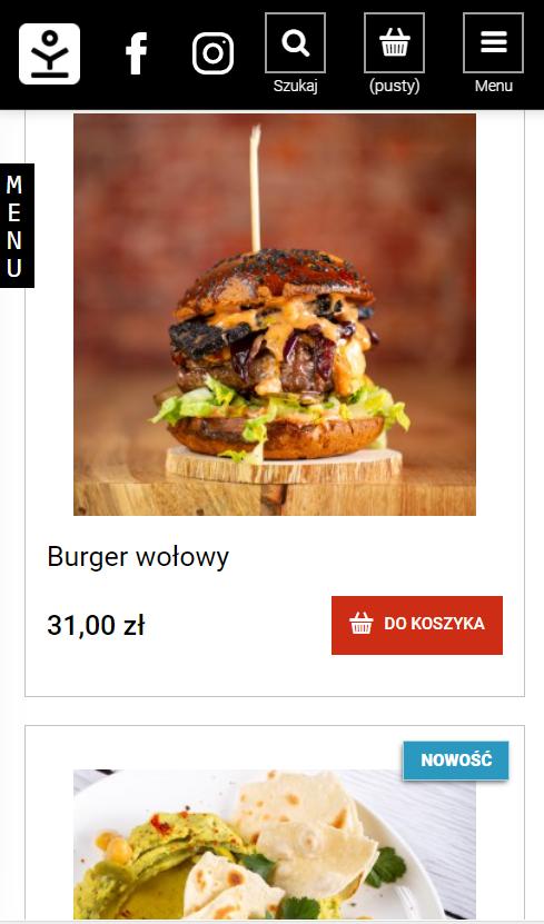 Przykład strony www restauracji nawynos.kuchniaotwarta.com umożliwiającej zamówienie klientom dań przez internet.