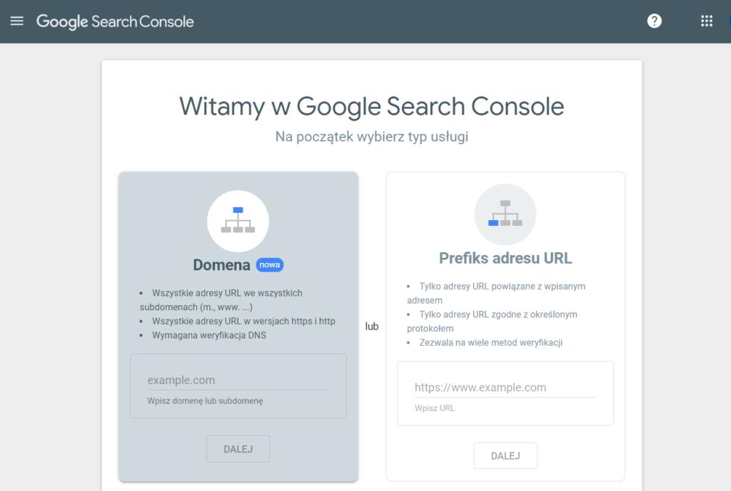 Konfiguracja Google Search Console