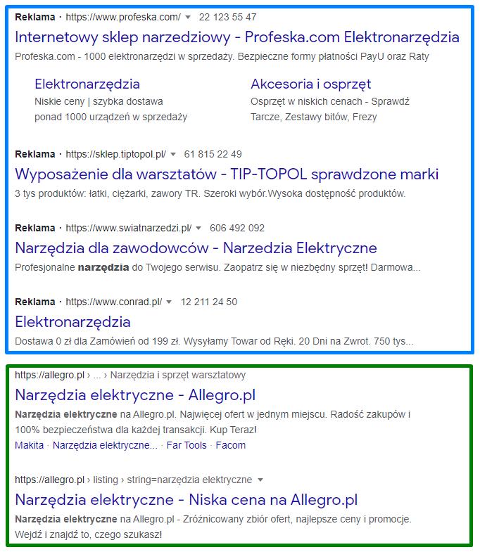 Wyniki Wyszukiwania wwyszukiwarce Google