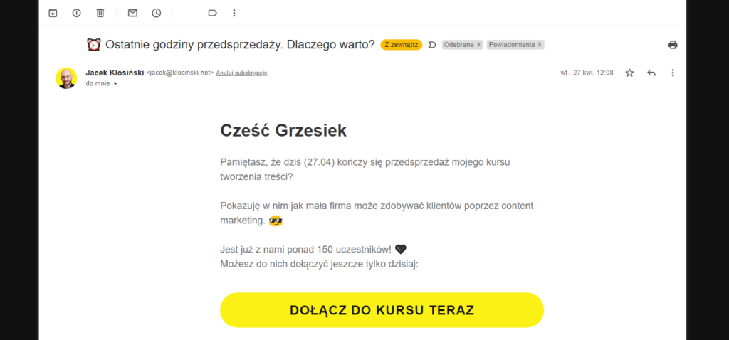 Przyklad Call ToAction WE Mail Automation 2