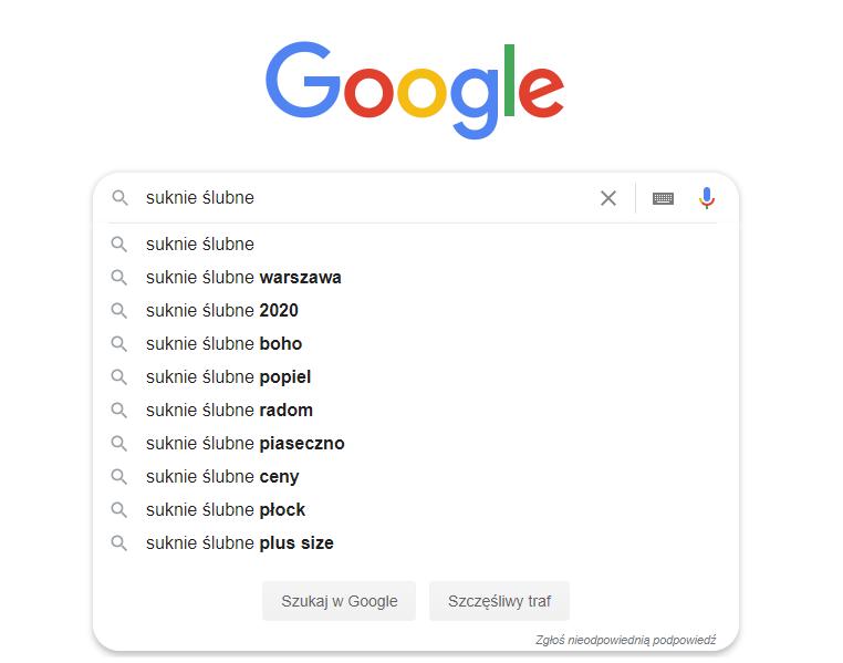 Podpowiedzi Wynikow Google